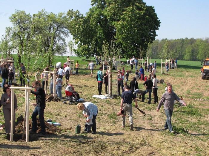Bei der Stammbaumpflanzaktion 2009 wurden Linden und verschiedene Obstbäume von den Familien der im Vorjahr geborenen Kinder gepflanzt. Unter dem Blätterdach der alten Kastanie findet der Wanderer die Schäferbank zum Verweilen.