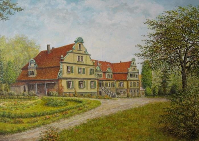 Ein Bild des Malers Siegfried Liedke aus Pappendorf zeigt eine Ansicht des ehemaligen Herrenhauses vom Rittergut.