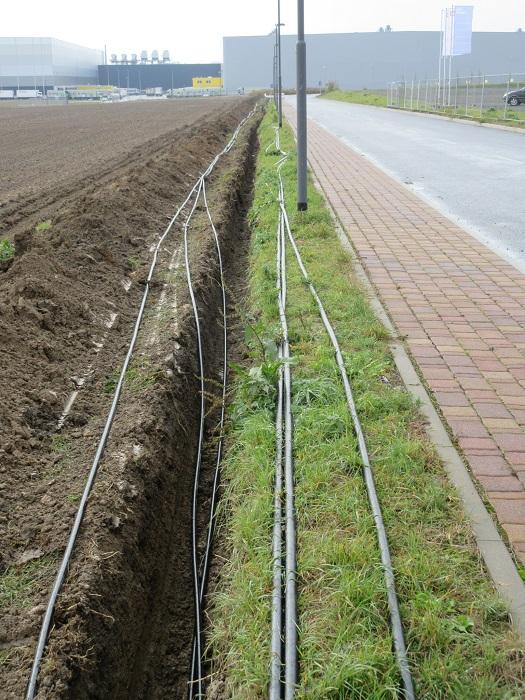 Diverse zusätzliche Leitungen werden verlegt. Das Vorhaben von Landgard erhält eine eigene Trafostation.