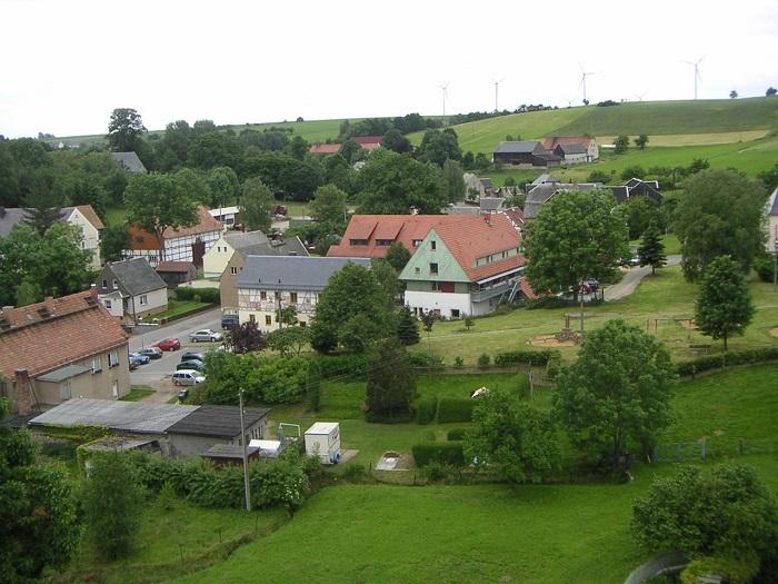 Blick vom Kirchturm auf die Ortsmitte